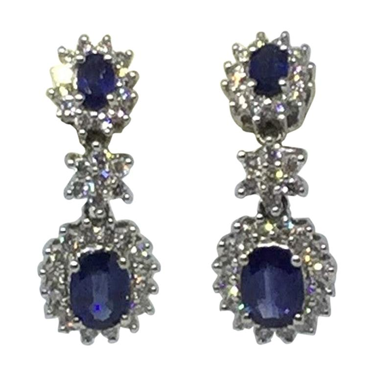 14 Karat White Gold Sapphire and Diamond Earrings For Sale