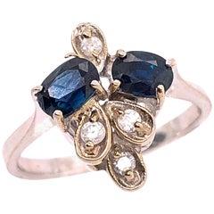 14 Karat White Gold Sapphire and Diamond Fashion Ring