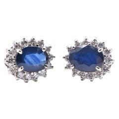 14 Karat White Gold Sapphire and Diamond Halo Stud Earrings