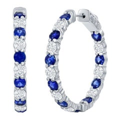 14 Karat White Gold Sapphire and Diamond Hoops