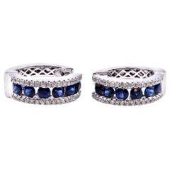 14 Karat White Gold Sapphire and Diamond Huggie Earrings