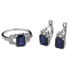 14 Karat White Gold Sapphire and Diamond Jewelry Suite