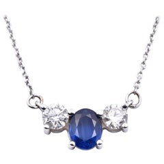 14 Karat White Gold Sapphire and Diamond Necklace