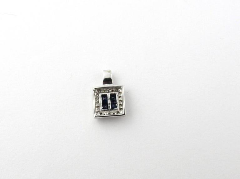 14 Karat White Gold Sapphire and Diamond Pendant In Good Condition For Sale In New Milford, CT