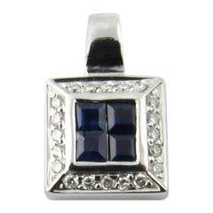 14 Karat White Gold Sapphire and Diamond Pendant