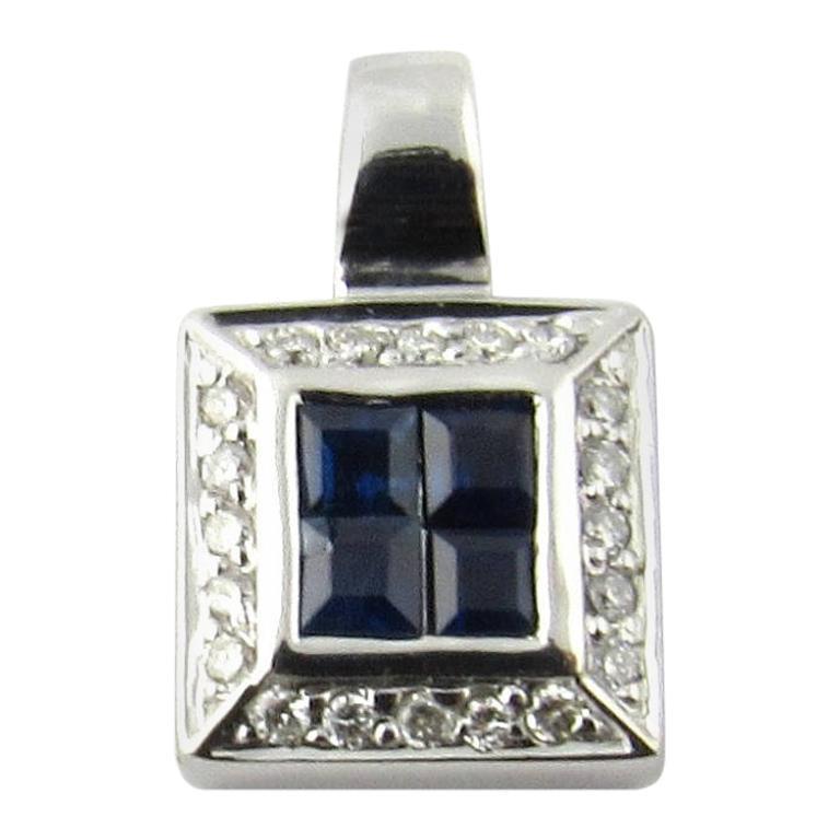 14 Karat White Gold Sapphire and Diamond Pendant For Sale
