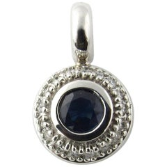 14 Karat White Gold Sapphire and Diamond Pendant
