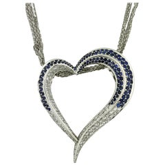 14 Karat White Gold, Sapphire and Diamond Pendant Necklace