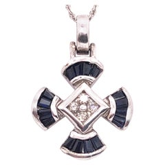 14 Karat White Gold Sapphire and Diamond Pendant Necklace
