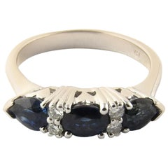 14 Karat White Gold Sapphire and Diamond Ring #4466