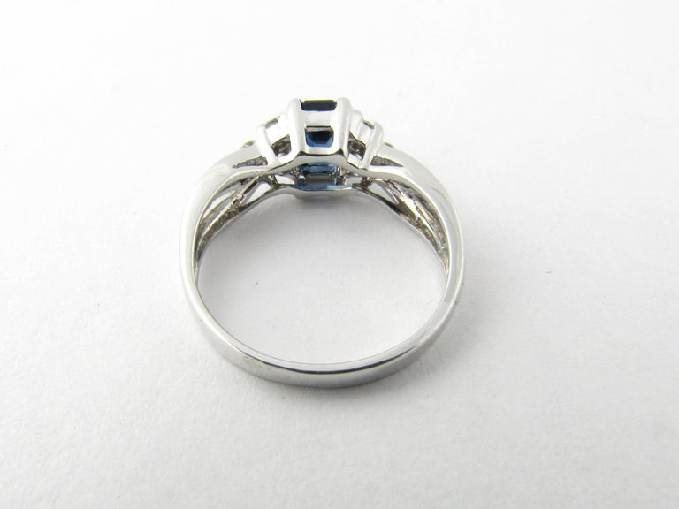 Round Cut 14 Karat White Gold Sapphire and Diamond Ring