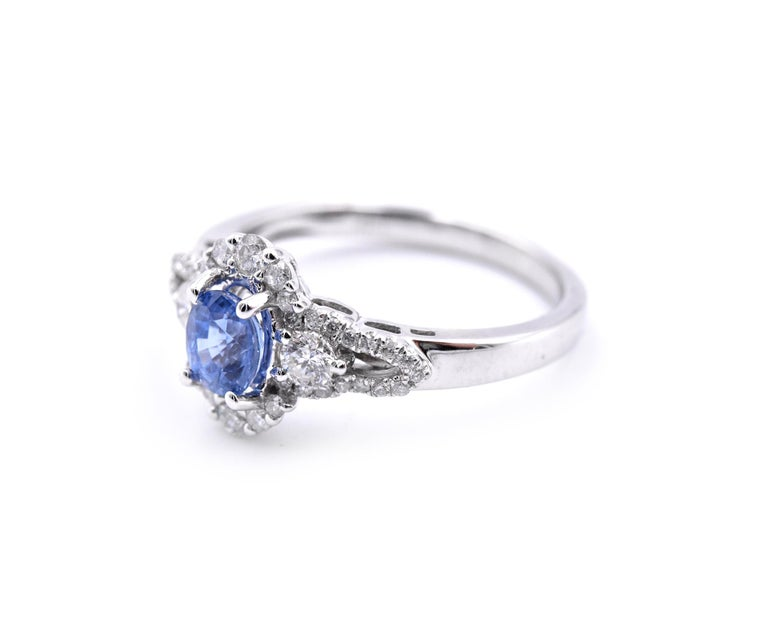 Round Cut 14 Karat White Gold Sapphire and Diamond Ring For Sale