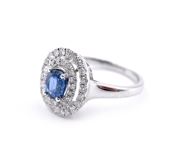 Oval Cut 14 Karat White Gold Sapphire and Diamond Ring For Sale