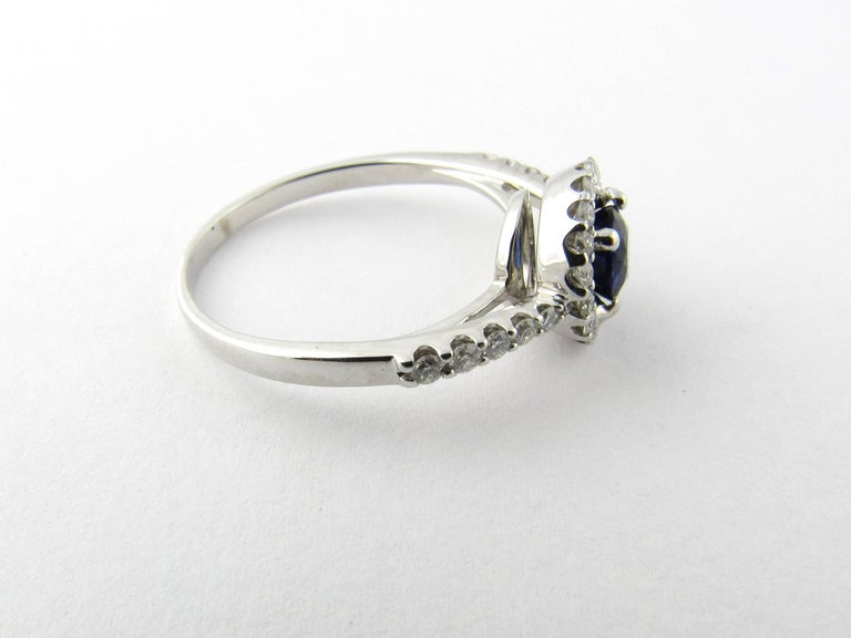 14 Karat White Gold Sapphire and Diamond Ring In Good Condition In New Milford, CT