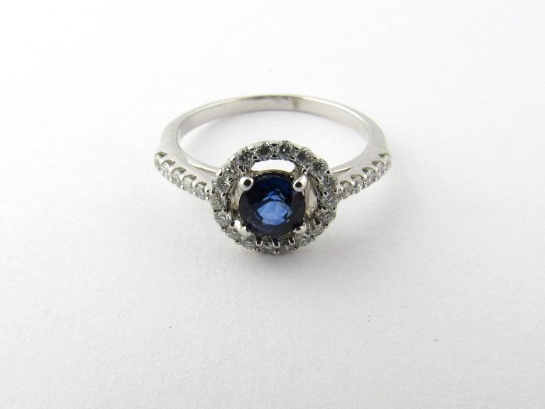 Women's 14 Karat White Gold Sapphire and Diamond Ring