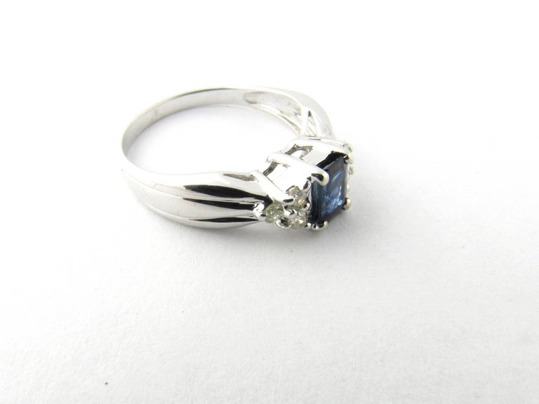 Women's 14 Karat White Gold Sapphire and Diamond Ring