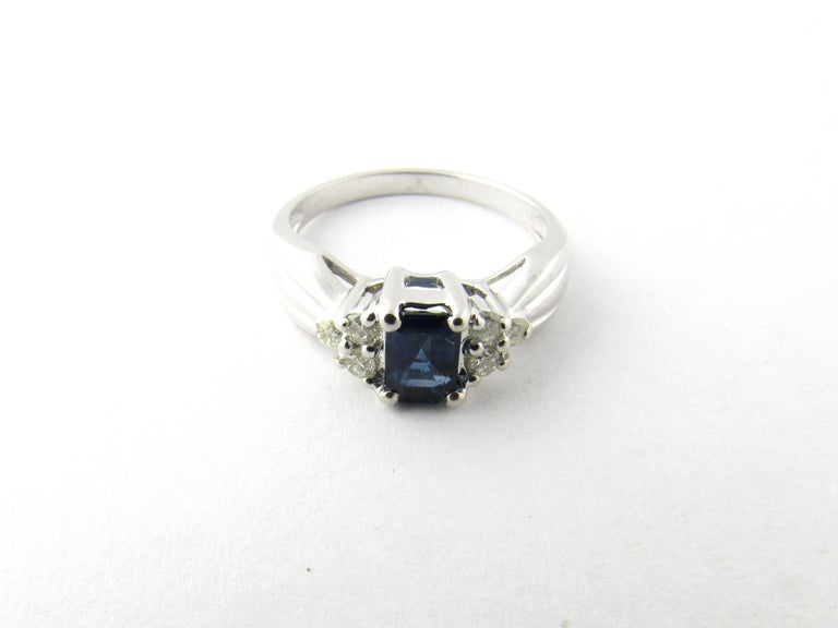 14 Karat White Gold Sapphire and Diamond Ring 1