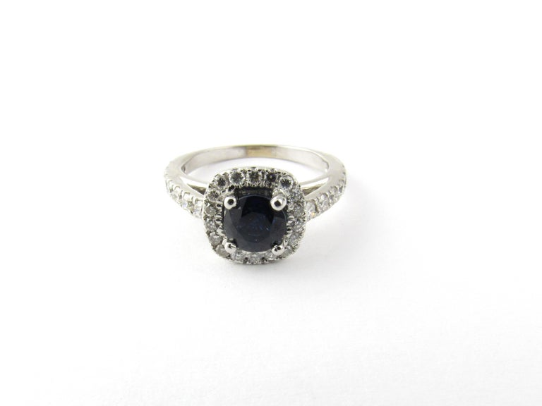 14 Karat White Gold Sapphire and Diamond Ring For Sale 2