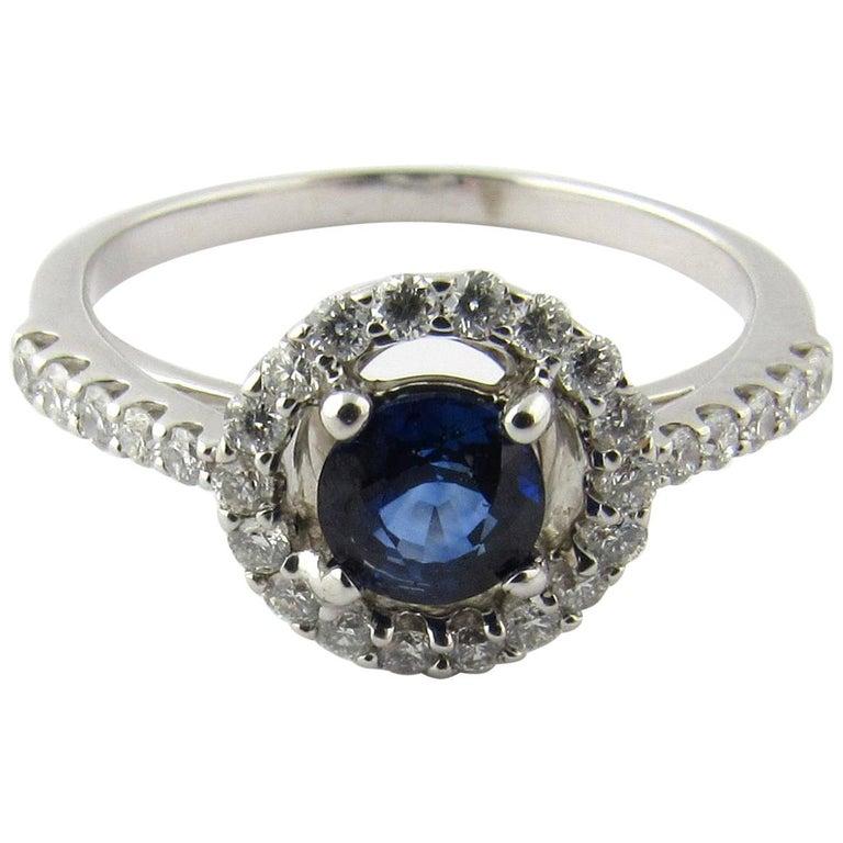 14 Karat White Gold Sapphire and Diamond Ring