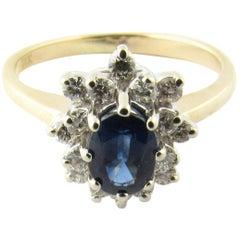 14 Karat White and Yellow Gold Sapphire and Diamond Ring