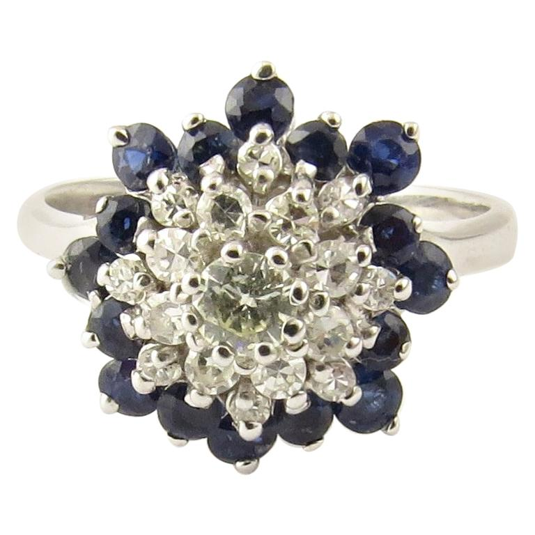 14 Karat White Gold Sapphire and Diamond Ring For Sale