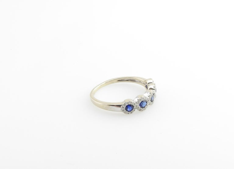 14 Karat White Gold Sapphire and Diamond Ring In Good Condition For Sale In New Milford, CT