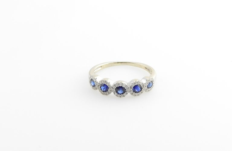 Women's 14 Karat White Gold Sapphire and Diamond Ring For Sale