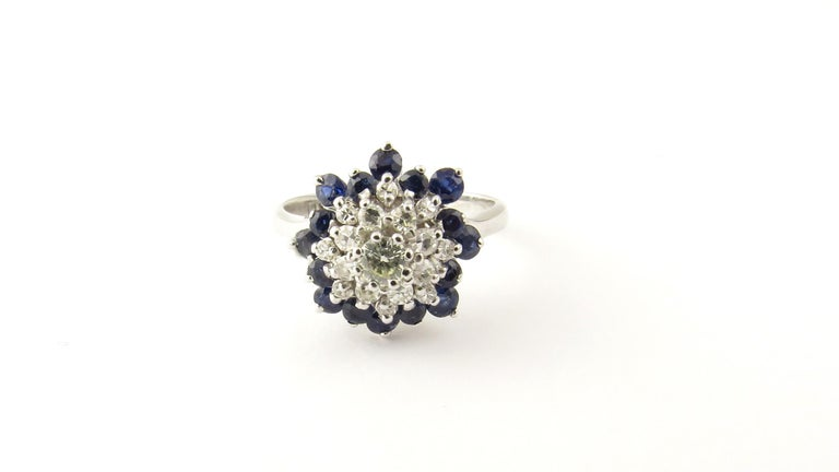 Women's 14 Karat White Gold Sapphire and Diamond Ring For Sale