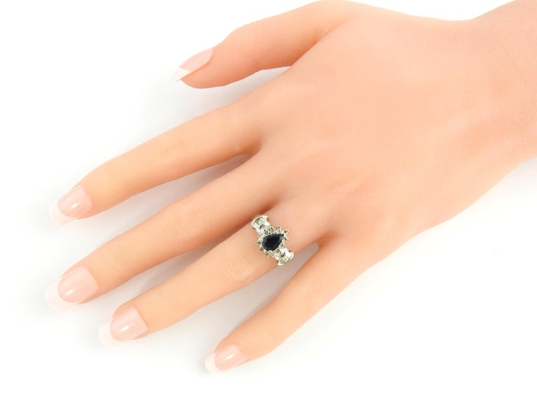 14 Karat White Gold Sapphire and Diamond Ring For Sale 1