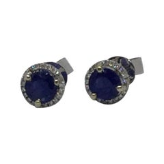 14 Karat White Gold Sapphire and Diamond Stud Style Earrings 1.23 Carat