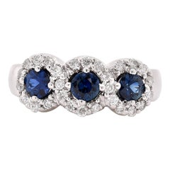 14 Karat White Gold Sapphire and Diamond Three-Stone Ring