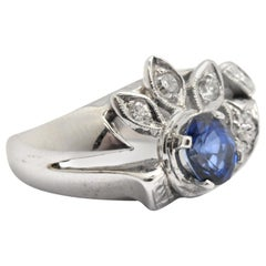 14 Karat White Gold Sapphire and Diamond Vintage Cocktail Ring