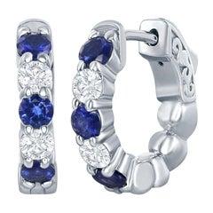 14 Karat White Gold Sapphire/Diamond Huggies 20 Pointers