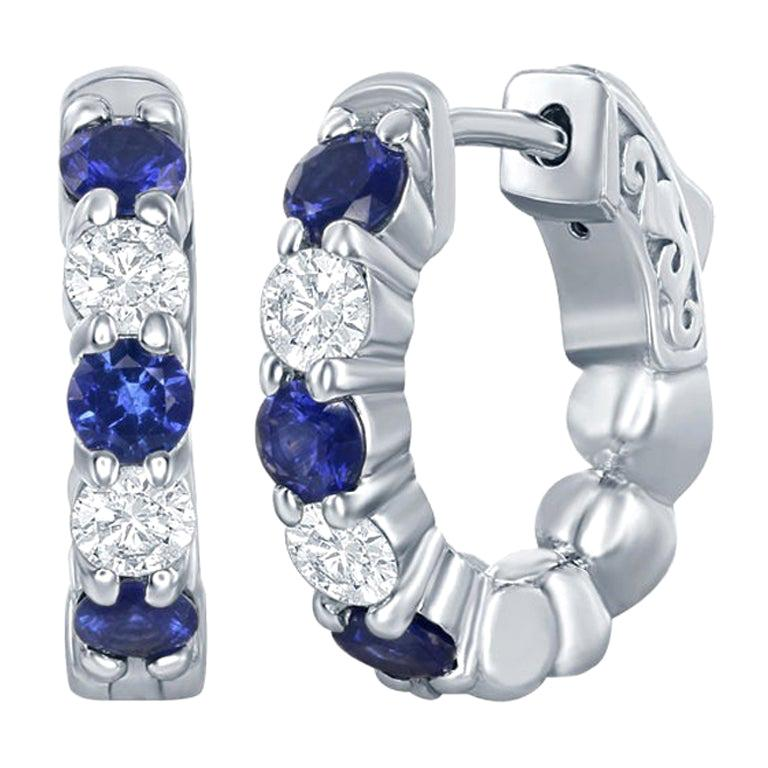 14 Karat White Gold Sapphire/Diamond Huggies 20 Pointers For Sale