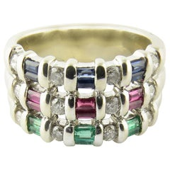 14 Karat White Gold Sapphire, Emerald and Ruby Ring