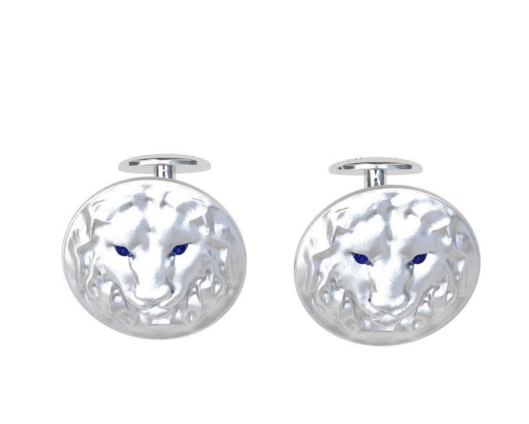 Round Cut 14 Karat White Gold Sapphire Lion Cufflinks For Sale