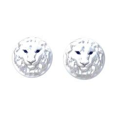 14 Karat White Gold Sapphire Lion Cufflinks