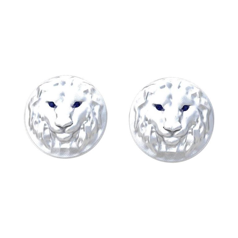 14 Karat White Gold Sapphire Lion Cufflinks For Sale