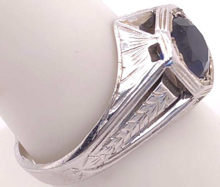 14 Karat White Gold Sapphire Solitaire Ring In Good Condition For Sale In Stamford, CT