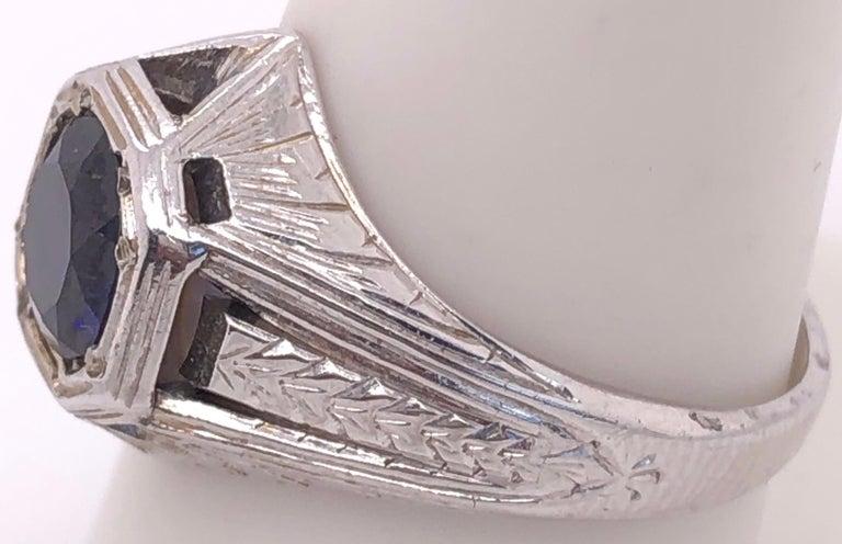 Women's or Men's 14 Karat White Gold Sapphire Solitaire Ring For Sale