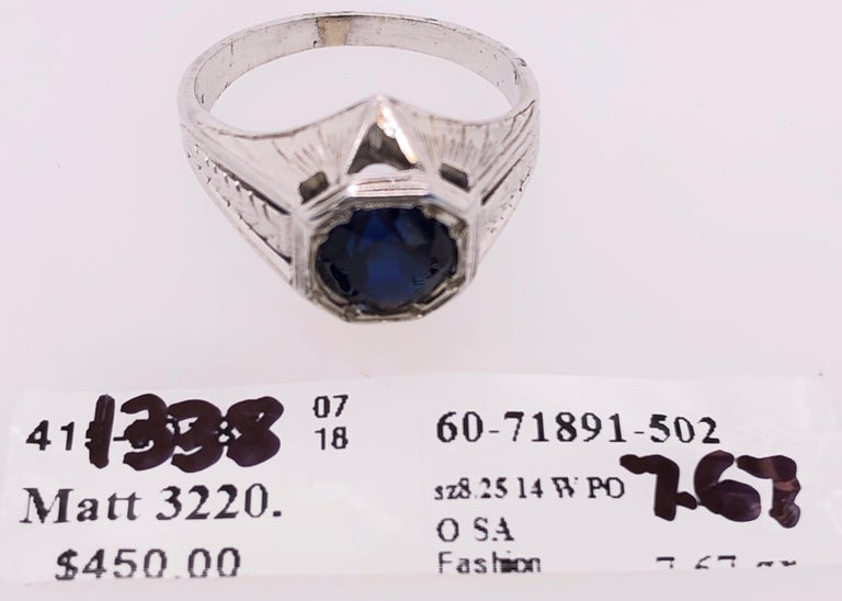 14 Karat White Gold Sapphire Solitaire Ring For Sale 1