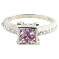 14 Karat White Gold Simulated Pink Sapphire and Diamond Ring