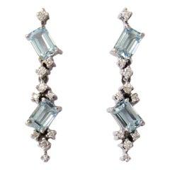 14 Karat White Gold Sky Blue Topaz and Diamonds Earrings
