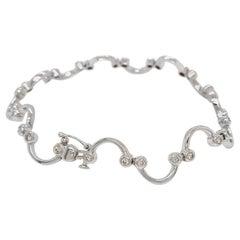14 Karat White Gold Smile U-Diamond Bracelet