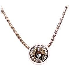 14 Karat White Gold Snake Chain Necklace with Diamond Bezel Pendant
