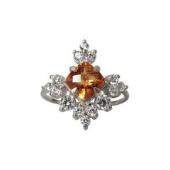 14 Karat White Gold Snowflake Citrine Diamond Ring