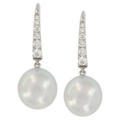 14 Karat White Gold South Sea Pearl & 0.26 Cttw. Diamond Drop Earrings