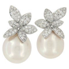 18 Karat White Gold South Sea Pearl & 1.03 Cttw Diamond Earrings