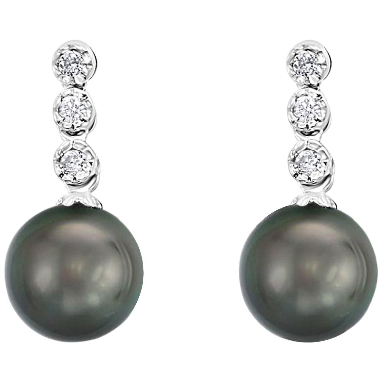 14 Karat White Gold South Sea Tahitian Cultured Pearl and Diamond Earrings