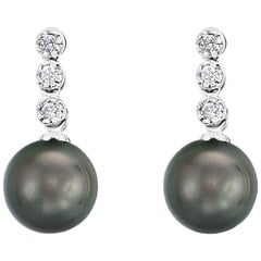 14 Karat White Gold South Sea Tahitian Cultured Pearl and Diamond Earrings